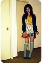 scarf - and white dress - cardigan - socks - clutch - belt