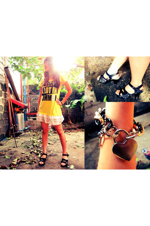 yellow lace hoodie - black leather strap sandals - black thrifted bracelet