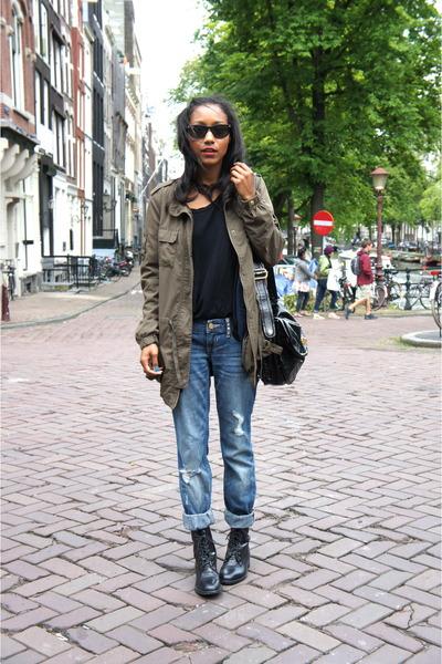 blue Express jeans - black vintage boots - black American Apparel t-shirt