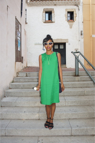 green Zara dress - black Zara sandals - chartreuse H&M glasses