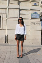 white James Perse shirt - black American Apparel shorts - black Zara heels