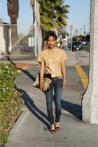 camel Michael Kors blouse - navy Genetic jeans - black Nine West heels