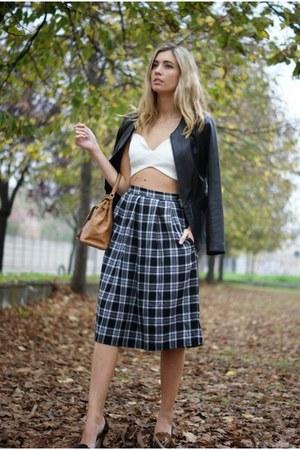 gray Front Row Shop skirt - bronze Hermes bag - ivory HotMiamiStylescom bra
