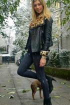 brown All Saints jacket - black Zara boots - navy Topshop jeans