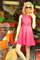 hot pink cho dress - dark khaki cestera bag - black Zara sunglasses