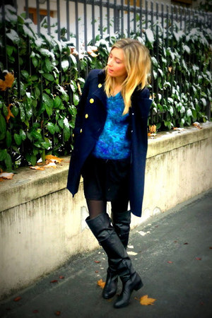 teal vintage jumper - black Zara boots - navy Forever 21 coat - black H&M skirt
