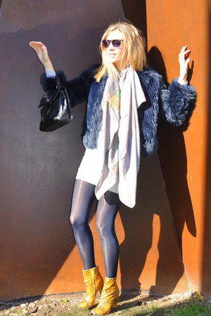silver foolard scarf - mustard Zara boots - periwinkle asos dress