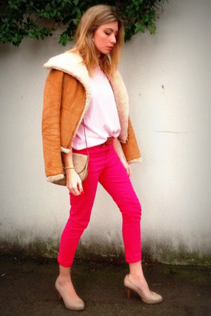 bronze Zara coat - silver christian dior bag - bubble gum Gant jumper