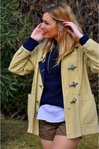 navy H&M jumper - beige Valentino coat - white Polo Ralph Lauren shirt