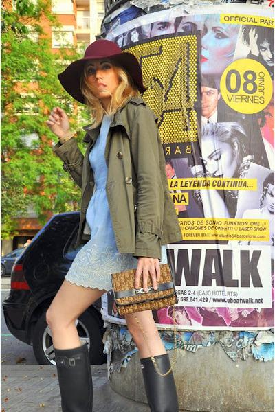 Hunter boots - mattina dress - Primark hat - Massimo Dutti jacket