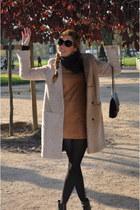 periwinkle H&M coat - burnt orange H&M dress - black Chanel bag