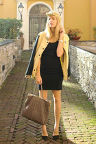 camel OASAP jacket - black American Apparel dress - light brown Miu Miu bag