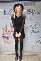 black Mango touch shoes - black Mango dress - black vintage hat
