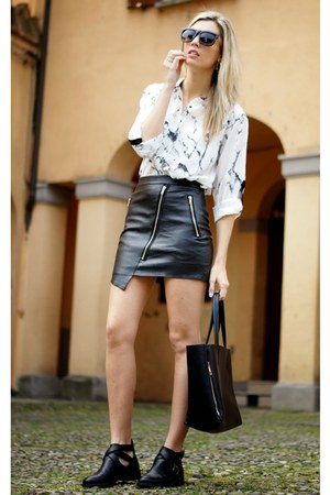 ivory romwe shirt - black romwe skirt