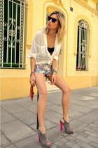 deep purple q2 shorts - white Zara shirt - hot pink Armani Exchange bag