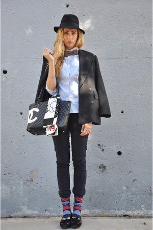 black Chanel bag - black vintage hat - gray George Rech blazer