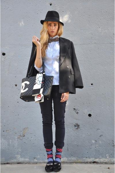black Chanel bag - black vintage hat - gray George Rech blazer