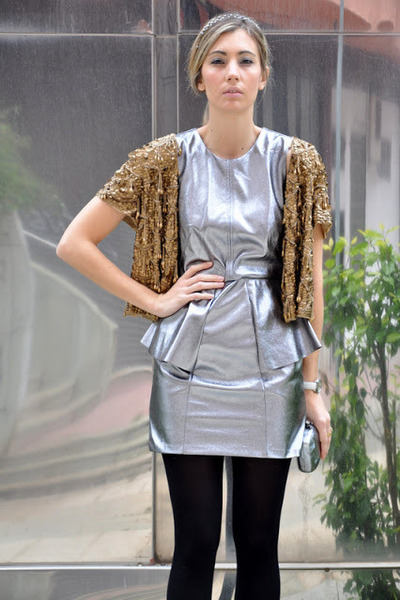 gold Topshop jacket - silver H&M dress - heather gray vintage bag