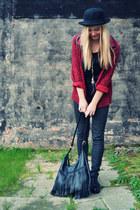 brick red vintage blazer - black platforms COS shoes - black bowler hat H&M hat