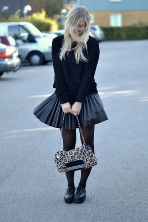 black COS shoes - cream Jimmy Choo for h&m bag - black H&M skirt