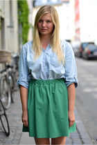 green COS skirt - periwinkle H&M shirt