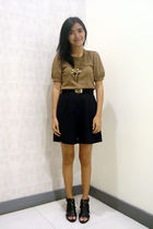 brown Kamiseta top - black thrift belt - blue saveonfashion shorts - black depar