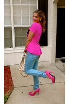 hot pink JustFab pumps - blue H&M jeans - hot pink Disney shirt
