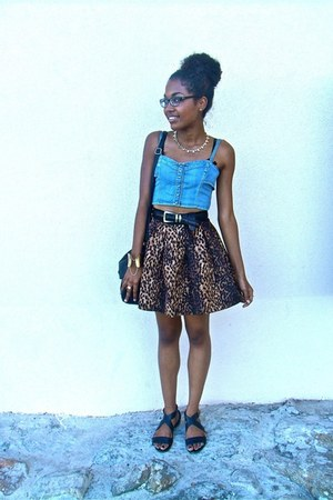 dark brown Zara skirt - light blue Mango top - black H&M flats