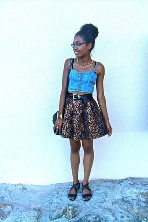 dark brown Zara skirt - light blue Mango top - black H&M flats
