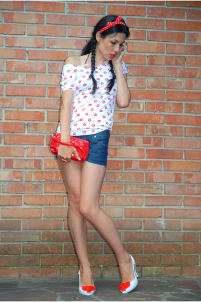 red Zara top - navy denim shorts kenvelo shorts