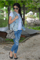 blue rippeddenim Zara jeans - denimripped Zara jacket - leather Guess bag