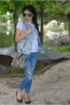 blue rippeddenim Zara jeans - denimripped Zara jacket - leather Guess bag