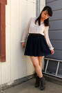 Gray-report-boots-brown-urban-outfitters-belt-navy-american-apparel-skirt