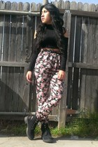 black Wet Seal shirt - black PacSun boots - bubble gum PacSun pants