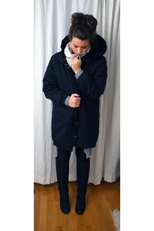 acne jacket - acne boots - Zara dress - BikBok scarf