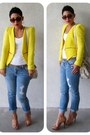 Yellow-zara-blazer-navy-express-jeans-off-white-michael-kors-bag