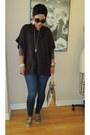 Dark-khaki-report-flats-navy-forever-21-jeans-dark-brown-jj-basics-cape