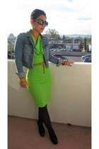 chartreuse DIY dress - blue American Eagle jacket - black steve wedges