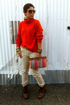 carrot orange H&M sweater - dark brown Steve Madden boots - Forever 21 bag