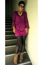 brown Steve Madden pumps - magenta DIY dress - black Forever 21 tights