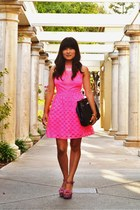 hot pink asos dress - navy vintage purse - bubble gum Steve Madden heels