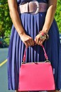 Bubble-gum-thrifted-vintage-purse-violet-h-m-dress-nude-steve-madden-pumps