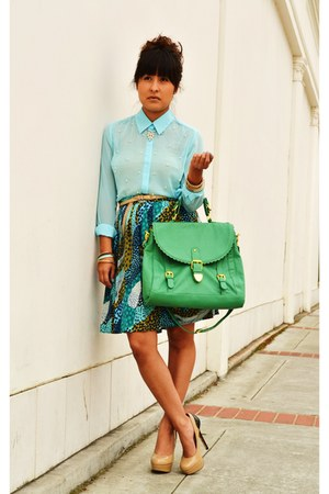 turquoise blue H&amp;M skirt - aquamarine modcloth bag