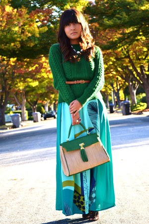 aquamarine maxi as skirt H&amp;M dress - green Zara sweater - green Aldo purse