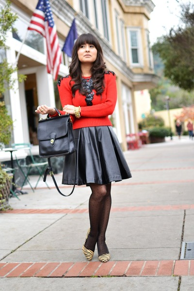 thrifted vintage sweater - coach purse - Forever 21 skirt - Aldo pumps