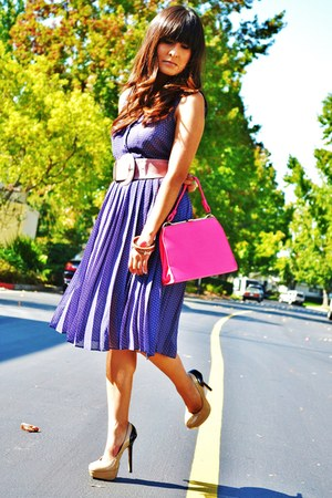 violet H&amp;M dress - bubble gum thrifted vintage purse - nude Steve Madden pumps