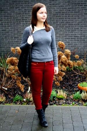 gray H&M sweater - crimson Zara jeans - black Primark heels