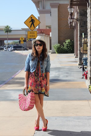 bubble gum bag - hot pink dress - sky blue jacket - hot pink Steve Madden heels