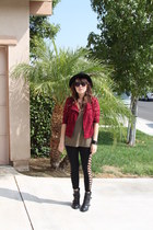 maroon BCBG jacket - black Reports boots - black net leggings