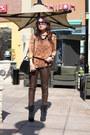 Bronze-cardigan-black-aldo-boots-dark-brown-leather-pants-h-m-pants